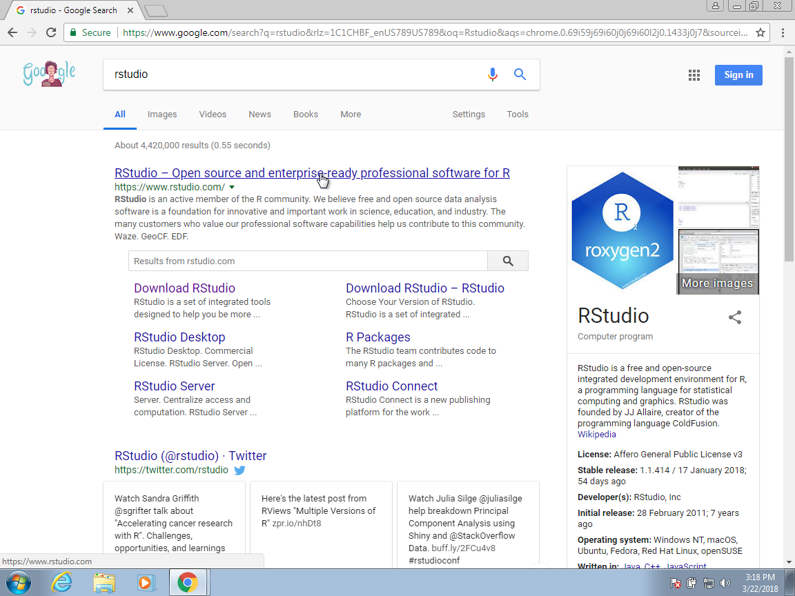 Introduction to Data Science You should find the RStudio website as shown above. Once there, click on Download  RStudio.